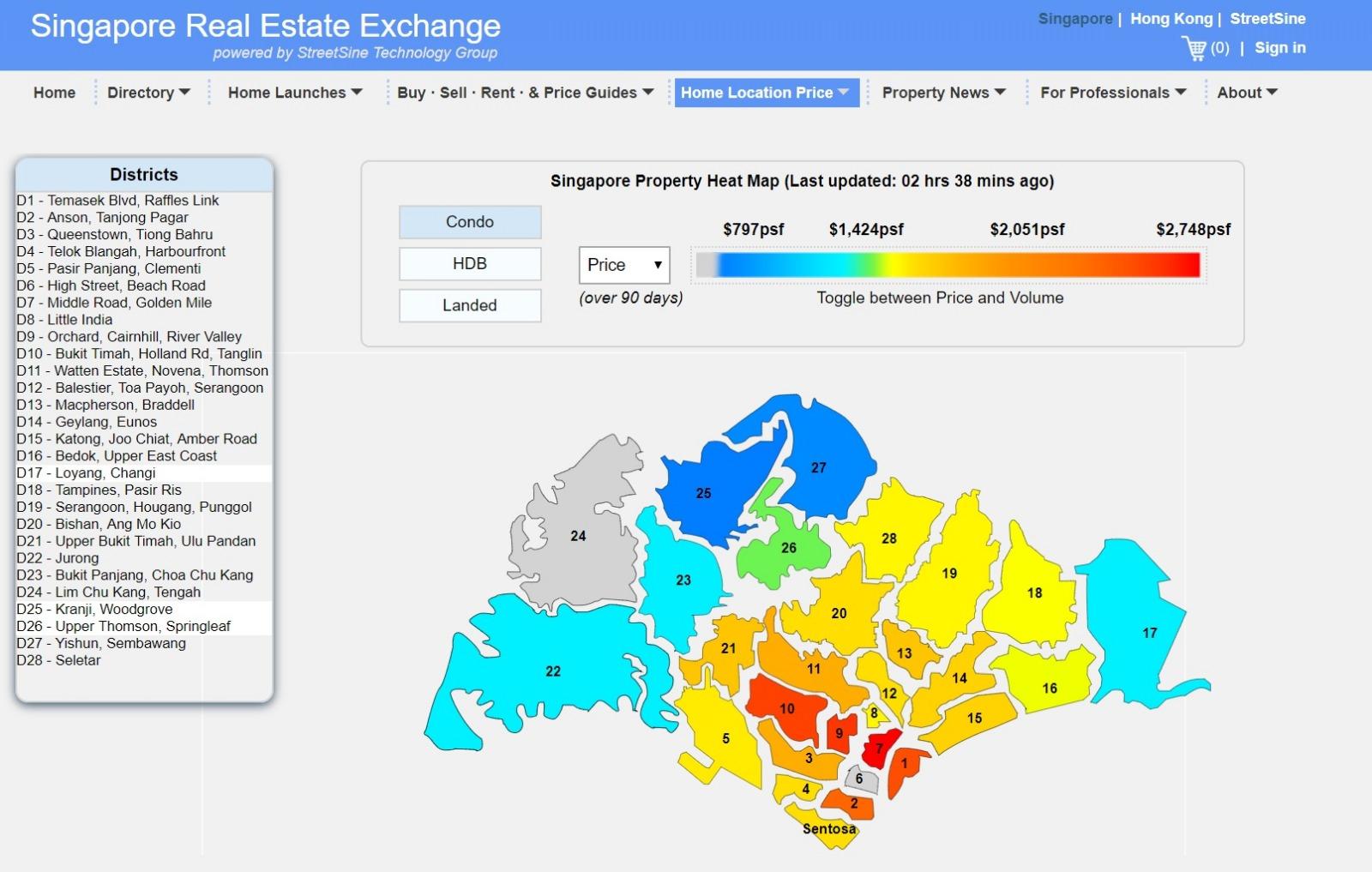 Singapore property hot map 新加坡房产热门地区的分布图