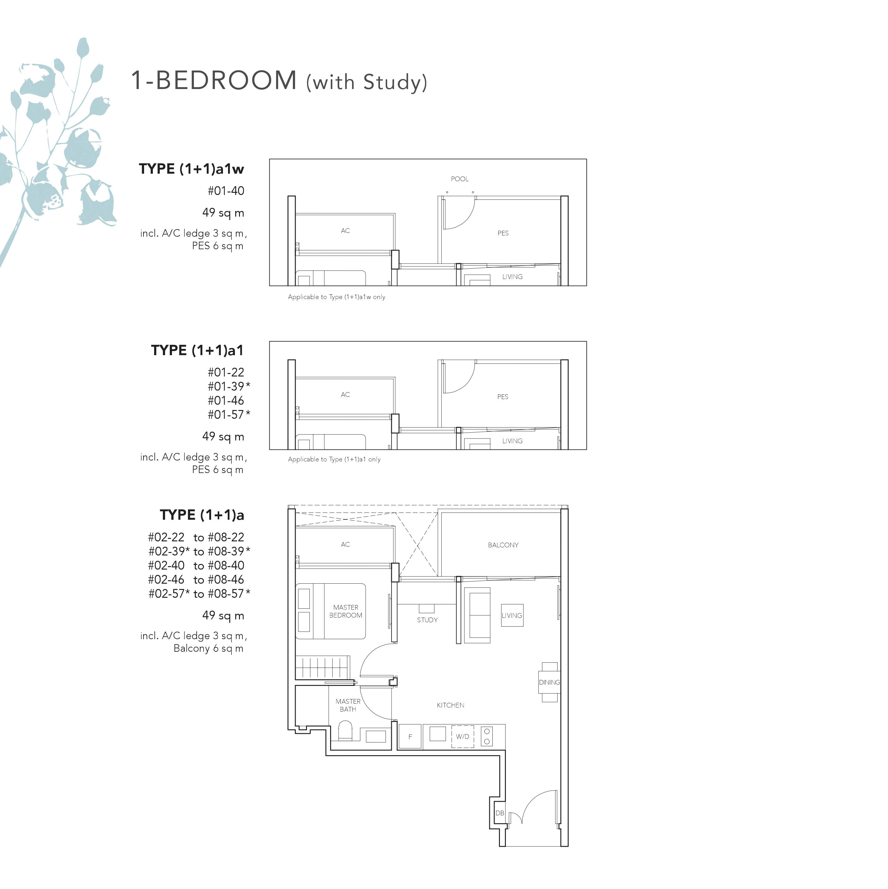 The Jovell Condo 1 + Study bedroom Floor Plan