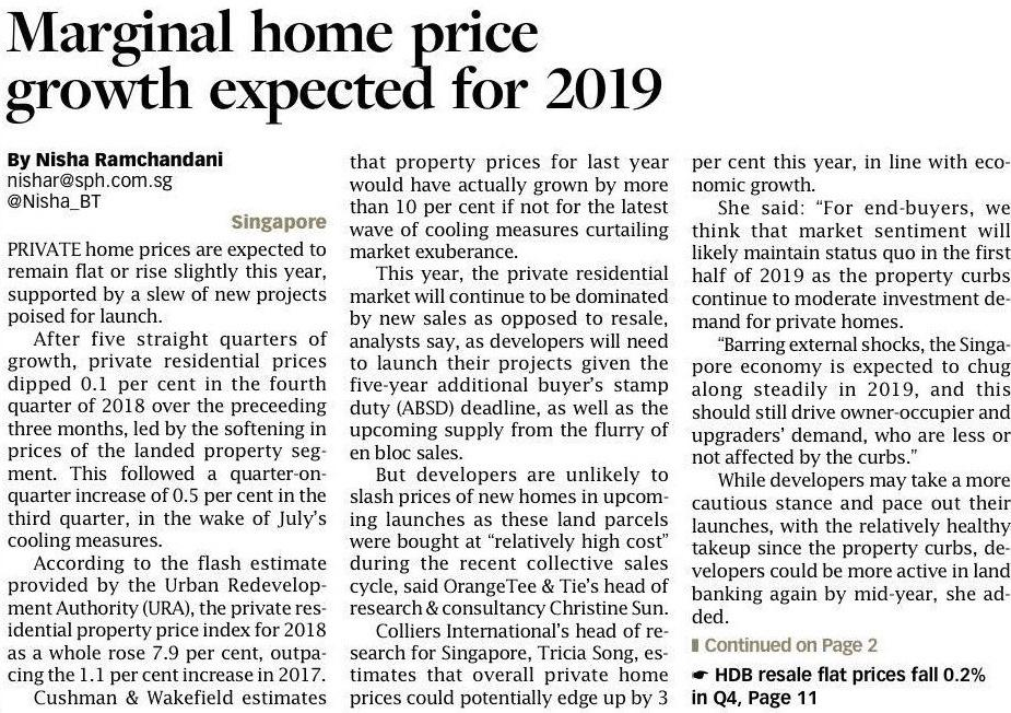 Marginal home price growth expected or 2019